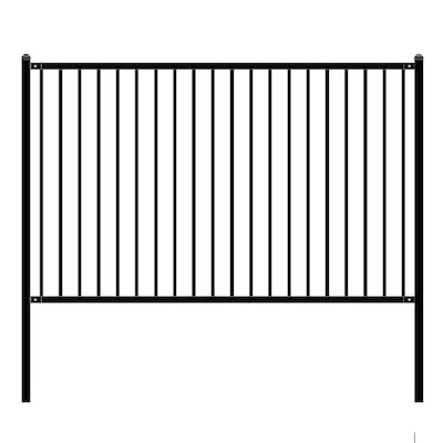 Lyon Style 5 ft. x 8 ft. Black Unassembled Steel Fence Panel