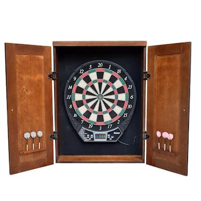 Brookline Electronic Dartboard Cabinet Set in Walnut Finish