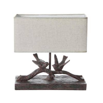 12 in. Black Rustic Bird Lamp with Rectangle Shade