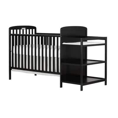 Anna 4-in-1 Black Crib and Changing Table Combo
