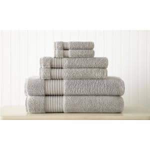 Grey 6-Piece 100% Turkish Cotton Towel Set