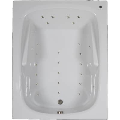 60 in. Acrylic Rectangular Drop-in Air Bathtub in White