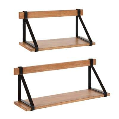 Willmann 7 in. x 24 in. x 9 in. Rustic Brown/Black Wood Floating Decorative Wall Shelf Without Brackets