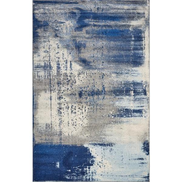Kas Rugs Watercolors Ice Blue Flow 5 Ft X 8 Ft Area Rug Wat62305x76 The Home Depot