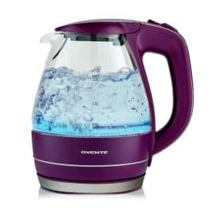Illuminated 6.5-Cup Purple Electric Kettle with Filter, Fast Heating and Auto-Shut Off