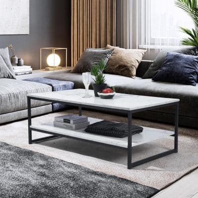 Facto 43.3 in. White Marble Rectangular MDF Coffee Table with Shelf