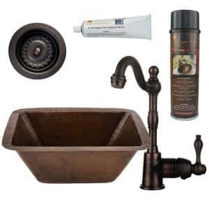 Bronze 16 Gauge Copper 17 in. Dual Mount Rectangle Bar Sink with Faucet and 3.5 in. Strainer Drain