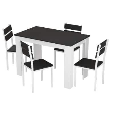5-Piece Black Wood Dining Room Set, Modern Kitchen Dining Table Set with 4-Chairs Dining Table and Chairs Set