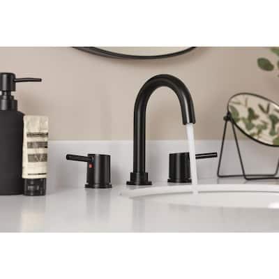 Precept 8 in. Widespread 2-Handle Bathroom Faucet in Matte Black