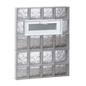 25 in. x 34.75 in. x 3.125 in. Frameless Wave Pattern Vented Glass Block Window