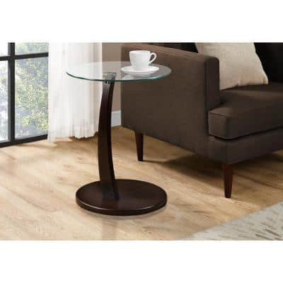 Cappuccino End Table with Tempered Glass