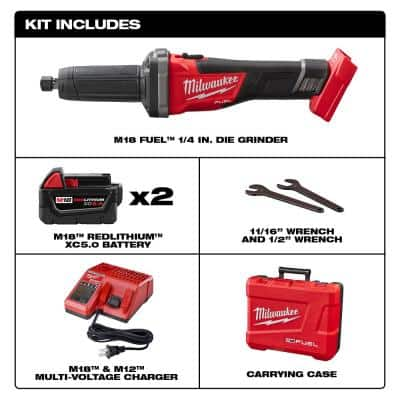 M18 FUEL 18-Volt Lithium-Ion Brushless Cordless 1/4 in. Die Grinder Kit with Two 5.0Ah Batteries, Charger and Hard Case