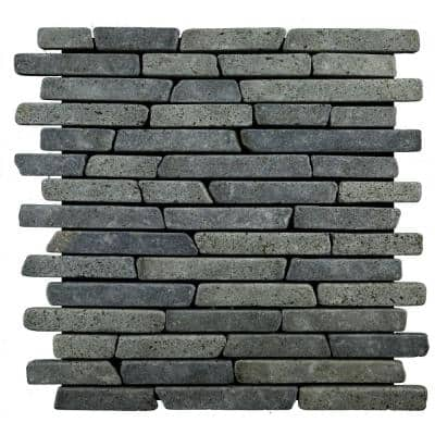 Sticks Tile Black 11-3/4 in. x 11-3/4 in. x 9.5 mm Indonesian Marble Mesh-Mounted Mosaic (10.67 sq. ft. / case)