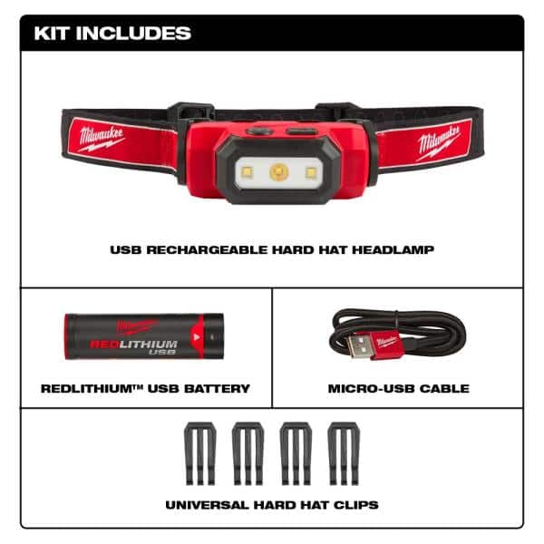 Milwaukee 475 Lumens Led Rechargeable Hard Hat Headlamp 2111 21 The Home Depot