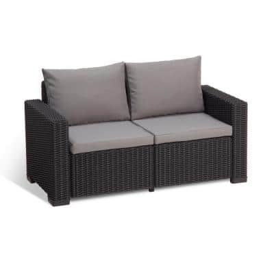 California Graphite Plastic Wicker Outdoor Loveseat with Cool Grey Cushions