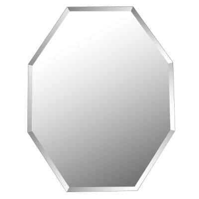 28x22 Inches Frameless Beveled Octagon Mirror, Geometric Modern No Frame Accent Wall Mirror for Bathroom Vanity Entryway