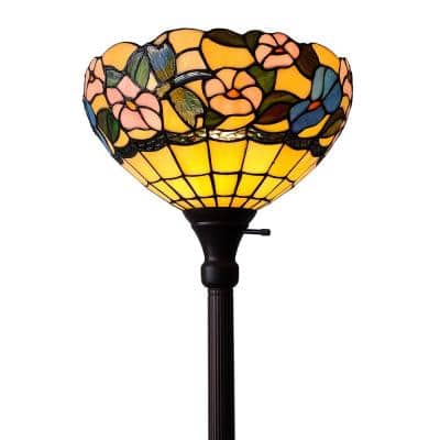 70 in. Tiffany Style Hummingbirds Floral Torchiere Floor Lamp