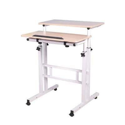 2-Tier Adjustable Sit and Stand Rolling Desk, White