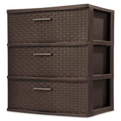 3-Drawer Plastic Wide Weave Tower in Espresso