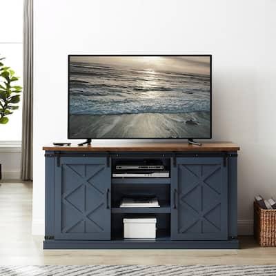 58 in. Navy TV Stand for TVs up to 65 in. Barn Door