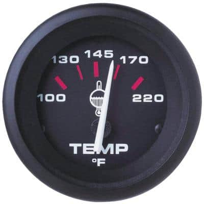 Amega 2 in. Black Outboard Hot and Cold 100°F - 220°F Dial Range Water Temperature Gauge Kit with J Sender Code