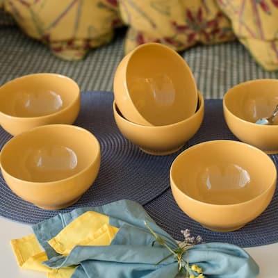 Actual 20.29 oz. Yellow Earthenware Soup Bowls (Set of 6)