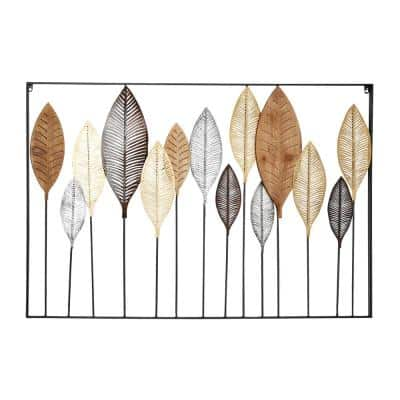 32 in. x 47 in. Multi Colored Metal Modern Floral Wall Decor