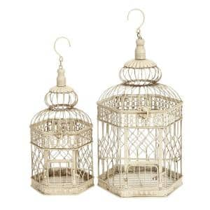 Litton Lane Cream Metal Vintage Birdcage (Set of 2)