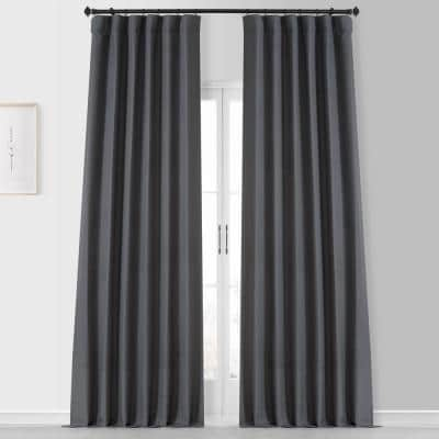 Fountain Grey Gray Placid Thermal Blackout Curtain Pair - 50 in. W x 108 in. L (2 Panels)
