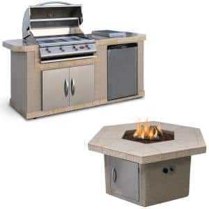 7 ft. Stucco Grill Island with 4-Burner Gas Grill in Stainless Steel and Firepit