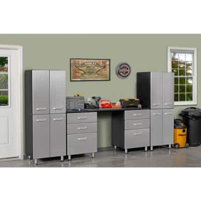 Metallic Series 71 in. H x 118 in. W x 21 in. D 7-Piece Garage Storage System with 6-Drawers and Two 2-Door Tower
