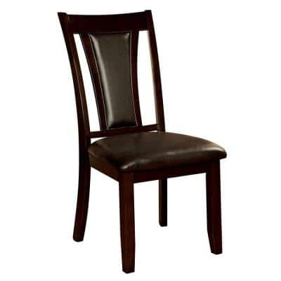 Brent Dark Cherry and Espresso Transitional Style Side Chair (2-Pack)
