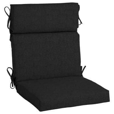 21.5 x 44 Sunbrella Canvas Black High Back Outdoor Dining Chair Cushion