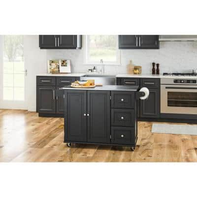 Dolly Madison Black Kitchen Cart with Stainless Top