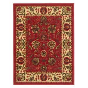 Ottohome Collection Traditional Floral Design Red 2 ft. 3 in. x 3 ft. Area Rug