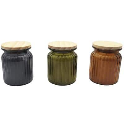 7.5 oz. Glass Farmhouse Citronella Candle with Wooden Lid (3-Pack)