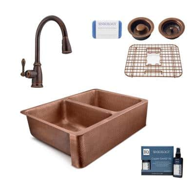 Copley All-in-One Copper Sink 32 in. Double Bowl Farmhouse Apron Kitchen Sink with Pfister Faucet and Strainer
