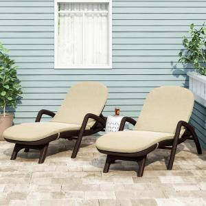 Primrose 28 in. x 36.0 in. Outdoor Chaise Lounge Cushion in Beige (Set of 2)