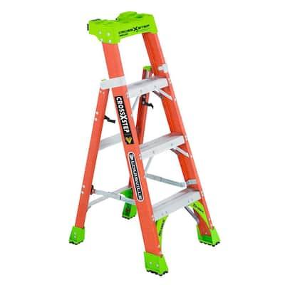 4 ft. Fiberglass Cross Step Ladder, 300 lbs. Load Capacity Type IA Duty Rating