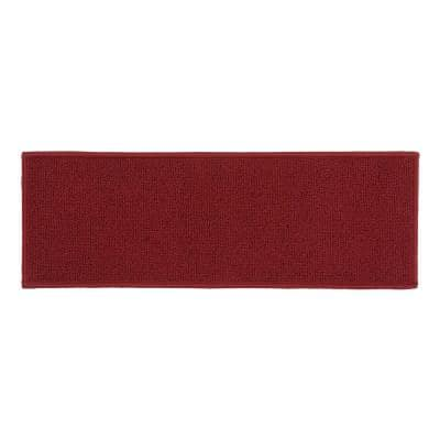 """Solid Non-Slip Stair Treads 8.6"""" x 26"""" Red (Set of 4)"""