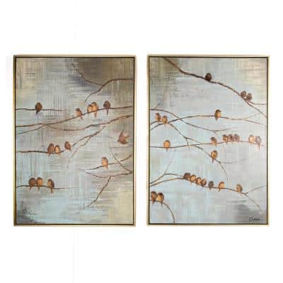 "28 in. x 39 in.""Flock Of Birds"" Printed Framed Canvas Wall Art"