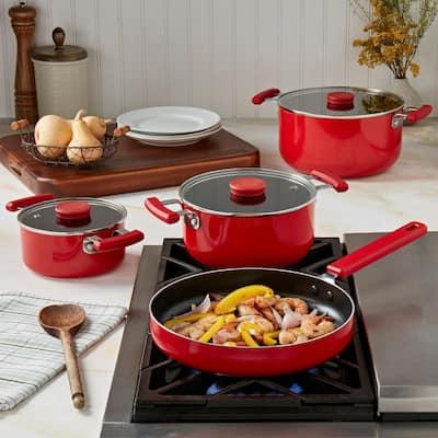 Stax 7-Piece Red Aluminum Non-Stick Stackable Cookware Set