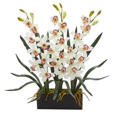 Indoor Cymbidium Orchid Artificial Arrangement in Black Vase