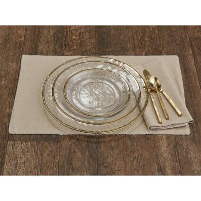 Metallic Gold Rim Glass Clear Dinner Plate (Set of 4)