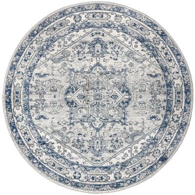 Modern Persian Vintage Medallion Light Grey/Navy 5 ft. Round Area Rug