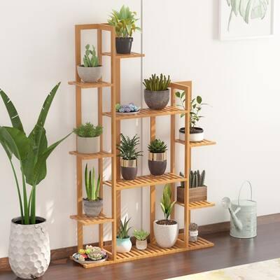 55.5 in. 7-Tier Bamboo Shelf Flower Pot Plant Stand Wooden Rack Garden Indoor Outdoor