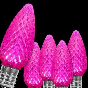 OptiCore C9 LED Pink Faceted Christmas Light Bulbs (25-Pack)