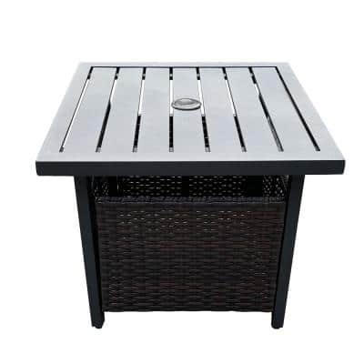 Black Square Metal and Wicker Umbrella Stand Side Table - Outdoor Cafe or Bistro Table with Umbrella Hole