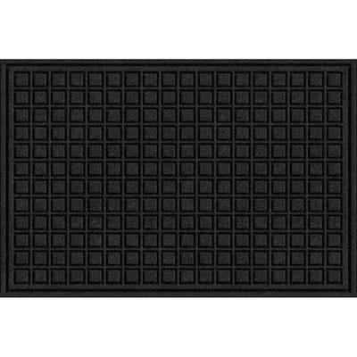 24 in. x 36 in. Black Fiber and Rubber Commercial Door Mat