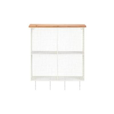23 in. H x 19 in. W x 6 in. D White Metal Wall-Mount Storage Shelf with 4 Hooks and Cubbies